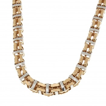 Chain for men, red and white gold, length 64 cm