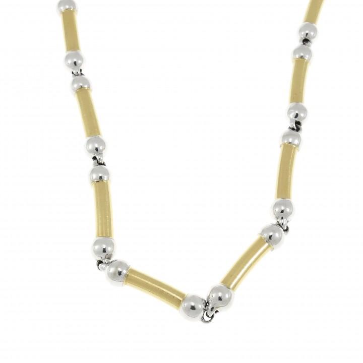 Мужская цепочка, желтое и белое золото 14 карат, длина 50 см