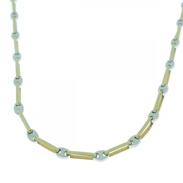 Chain for a man, 14K yellow and white gold, length 58 cm