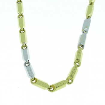 Chain for a man, 14K yellow and white gold, length 46 cm