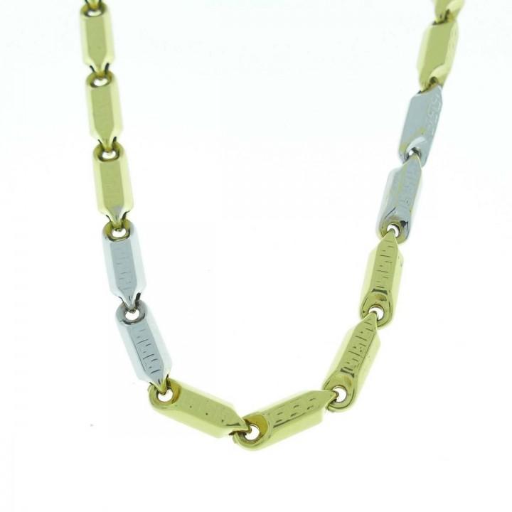 Цепочка для мужчины, золото желтое и белое 14 карат, длина 46 см