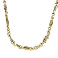 Золотая цепочка мужская, желтое и белое золото, вес 19,72 грамма