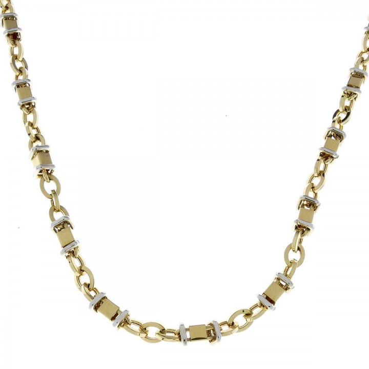 Gold chain for men, yellow and white gold, weight 19.8 grams