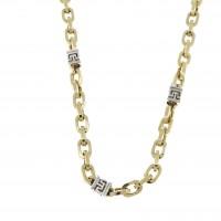 Золотая цепочка мужская, желтое и белое золото, вес 21,88 грамма