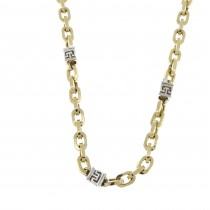 Gold chain for men, yellow and white gold, weight 21.88 grams