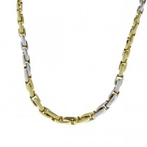 Gold chain for men, yellow and white gold, weight 23.7 grams