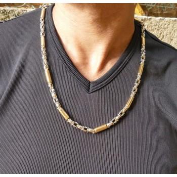 Мужская цепочка, белое и жёлтое золото, 60 см