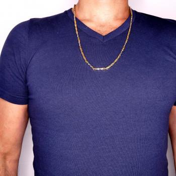 Золотая мужская цепочка, жёлтое и белое золото 14 карат, длина 66 см