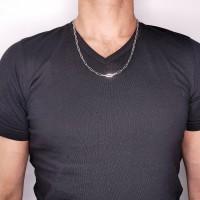 Мужская цепочка, белое золото 14 карат, длина 60 см