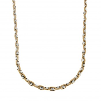 Chain for men, red and white gold, length 54 cm