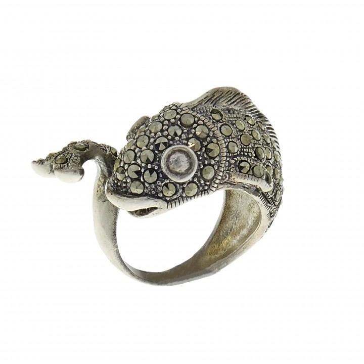 Кольцо для женщины - рыбка, серебро 925 проба