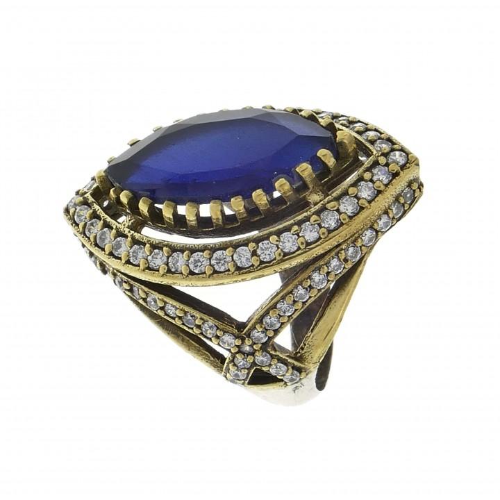 Кольцо для женщины, серебро 925 проба, сапфир и фианиты