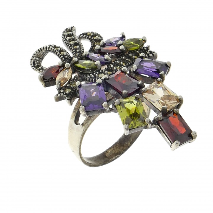 Кольцо для женщины, серебро 925 проба, мультиколор