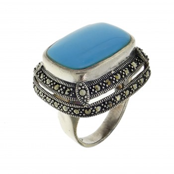Ring for a woman, 925 sterling silver, turquoise