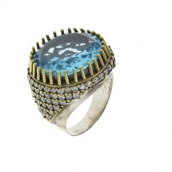Ring for a woman, 925 sterling silver, blue topaz