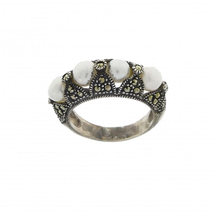 טבעת לאישה, כסף סטרלינג 925, פנינים