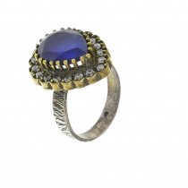 Ring for a woman, 925 sterling silver, sapphire and cubic zirkonia