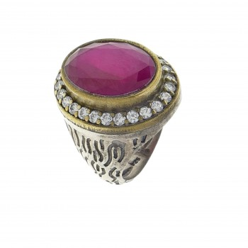 Ring for a woman, 925 sterling silver, ruby and cubic zirkonia