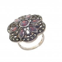 Ring for a woman, 925 sterling silver, ruby