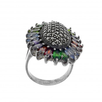 Ring for women, 925 sterling silver, multicolor