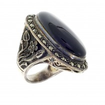 Ring for a woman, 925 sterling silver, onyx