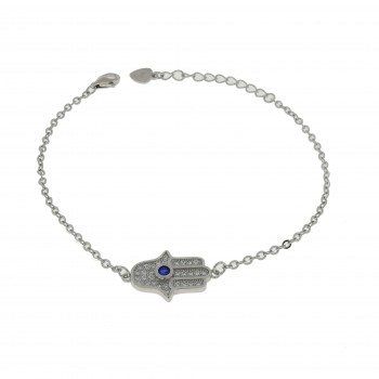Браслет для женщины - Хамса, серебро 925 проба, длина 21 см