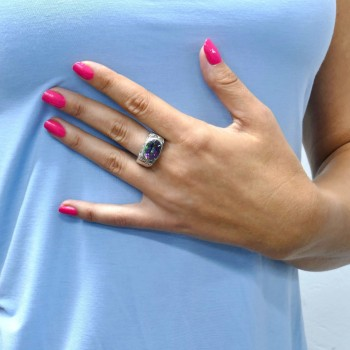 Ring for a woman, 925 sterling silver, moon topaz