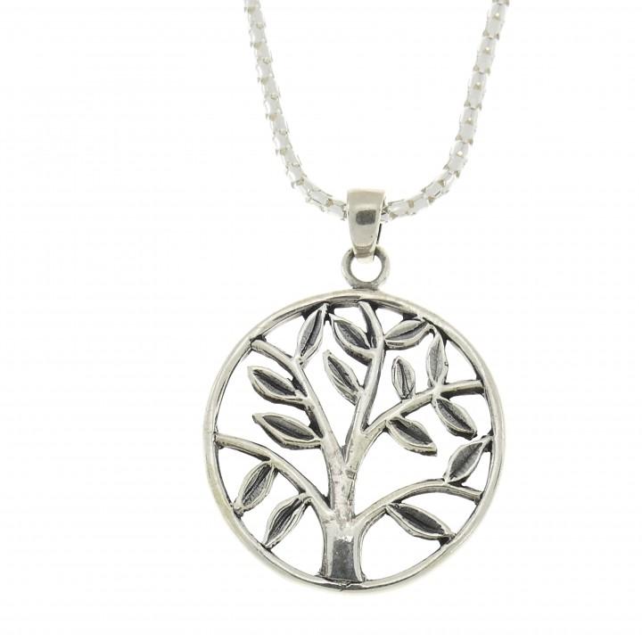Кулон серебряный, серебро 925 проба, дерево