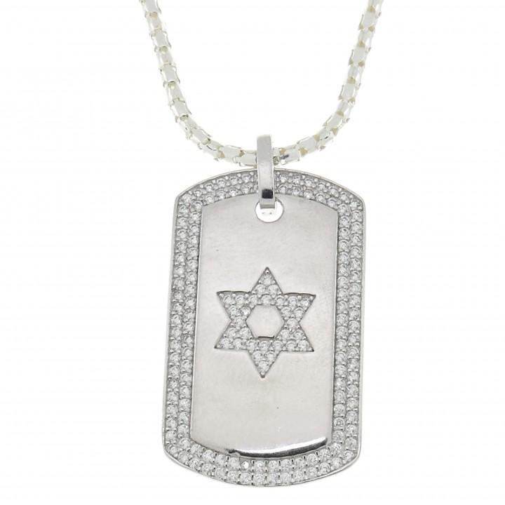 Кулон, серебро 925 проба, фианиты, звезда Давида