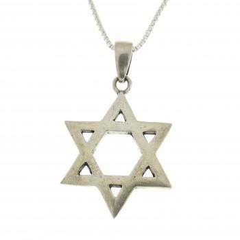 Кулон серебряный, серебро 925 проба, звезда Давида