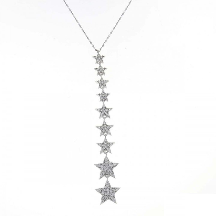 Chain for women, white gold with zirconium, length 58 cm