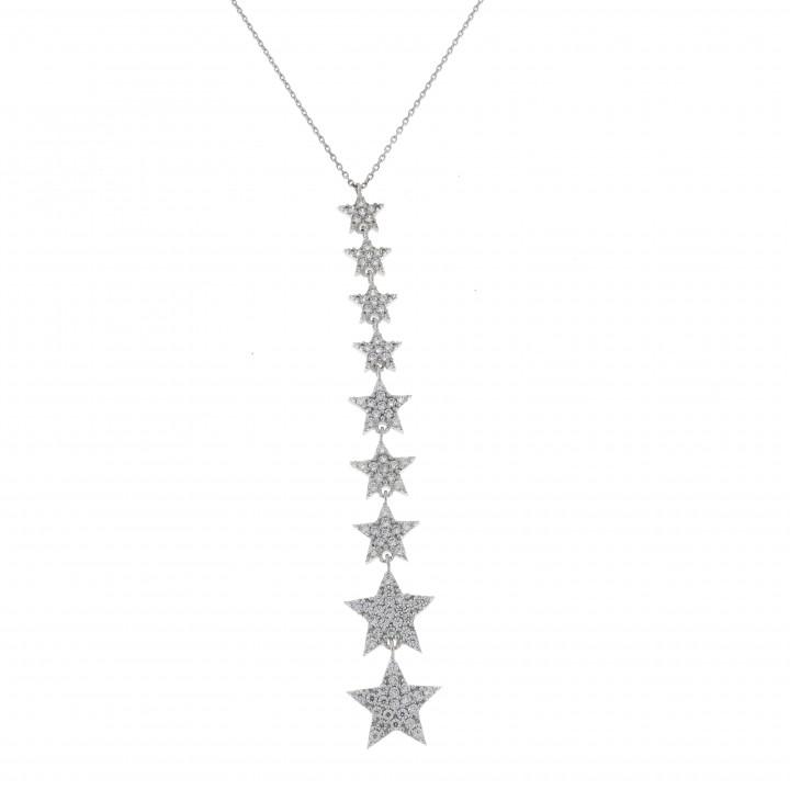 Цепочка для женщины, белое золото с цирконием, длина 58 см