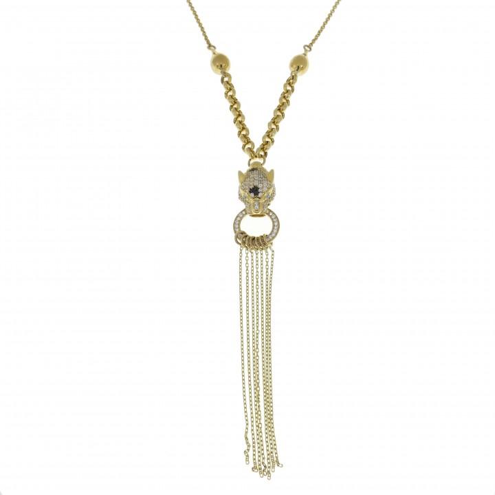 Кулон для женщины с цепочкой - голова пантеры, желтое золото, длина 68 см