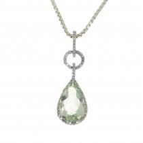 Кулон для женщины с бриллиантами и аметистом, белое золото 14 карат, длина 3 см