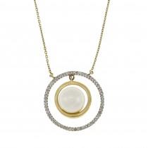 Круглый кулон для женщины с бриллиантами и жемчугом, белое золото 14 карат, длина 43 см