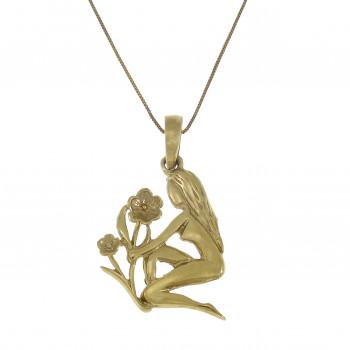 Золотой кулон - дева, желтое золото 14 карат