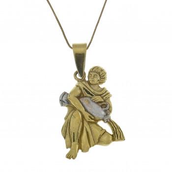 Золотой кулон - Водолей, желтое золото 14 карат