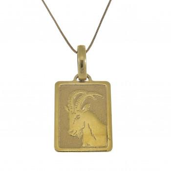 Золотой кулон - козерог, желтое золото 14 карат