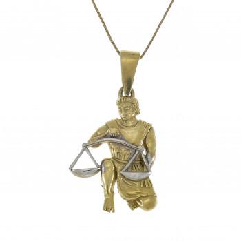 Золотой кулон - весы, желтое золото 14 карат