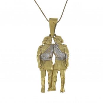 Золотой кулон - близнецы, желтое золото 14 карат