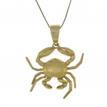 Золотой кулон - краб, желтое золото 14 карат