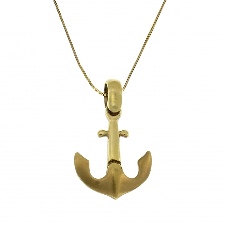 Кулон - якорь, желтое золото 14 карат, длина 2.5 см