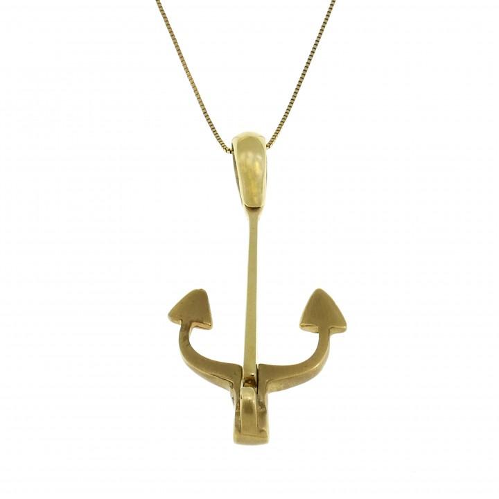 Кулон - якорь, желтое золото 14 карат, длина 4 см