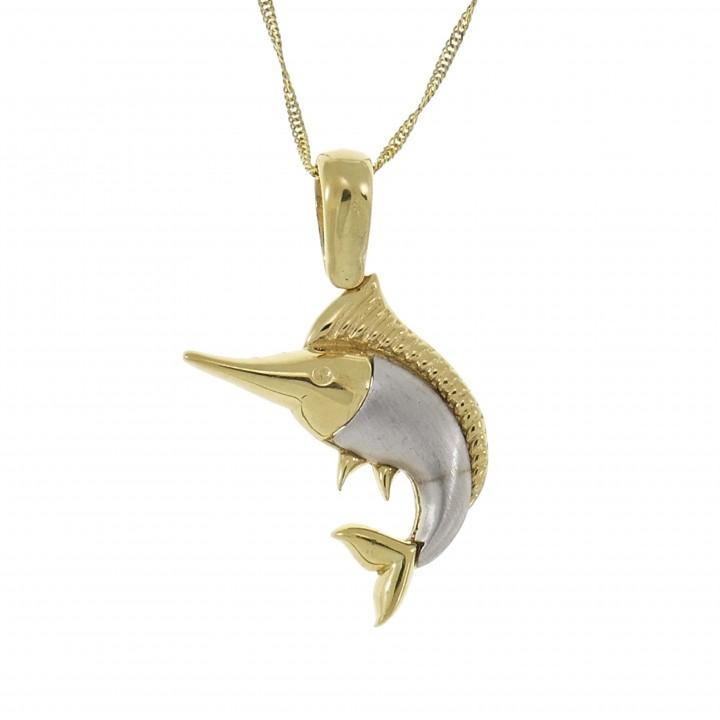 Кулон для женщины - рыба меч, жёлтое и белое золото 14 карат