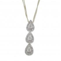 Кулон для женщины с бриллиантами, белое золото 14 карат, длина 3 см