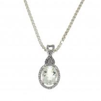 Кулон для женщины с бриллиантами и аметистом, белое золото 14 карат, длина 2 см