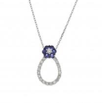 Кулон для женщины с бриллиантами и сапфирами, белое золото 18 карат, длина 2 см