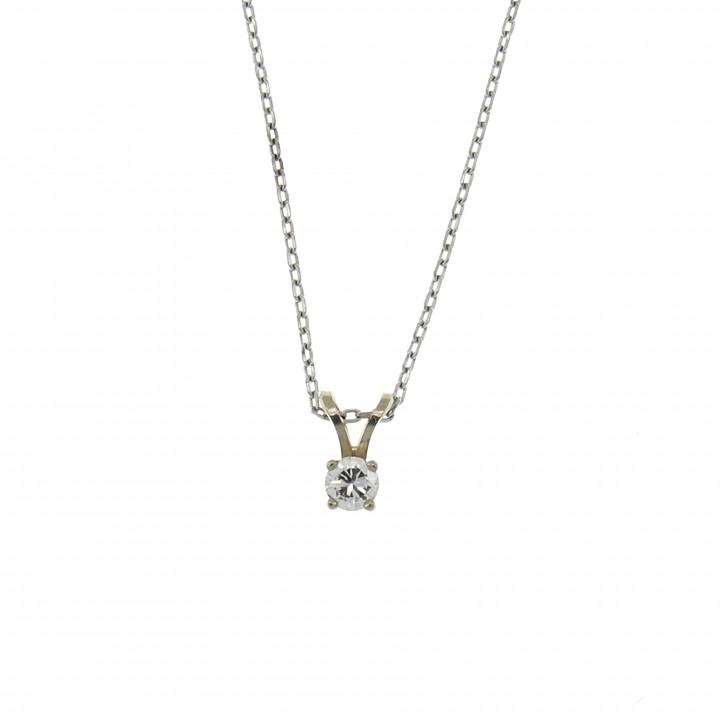 Кулон для женщины с бриллиантом, белое золото 14 карат, длина 1 см