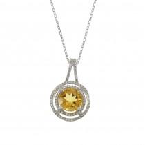 Кулон для женщины с бриллиантами и цитрином, белое золото 14 карат, длина 2 см