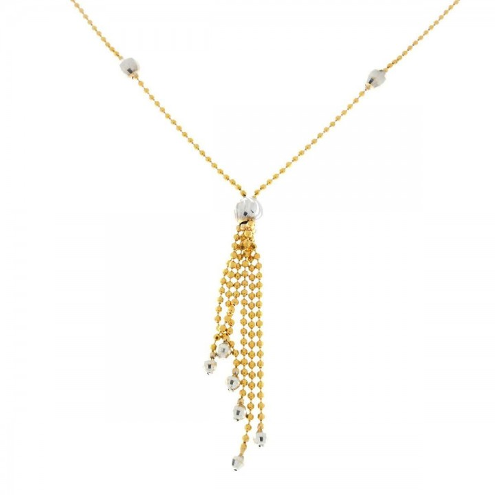 Pendant for a woman with a chain, yellow and white gold, length 56 cm